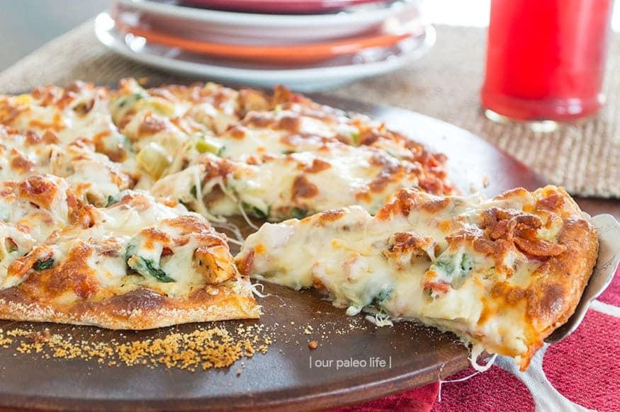 Keto Pizza Recipe - Chicken Bacon Artichoke from Our Paleo Life