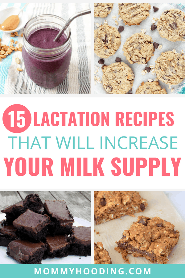 15 delicious lactation recipes that will increase your milk supply. These milk boosting recipes are my go to when I'm breastfeeding. The list includes lactation cookies, lactation smoothies, lactation muffins and more!