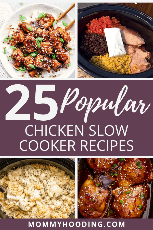 25 of the most popular chicken crockpot or slow cooker recipes on Pinterest.