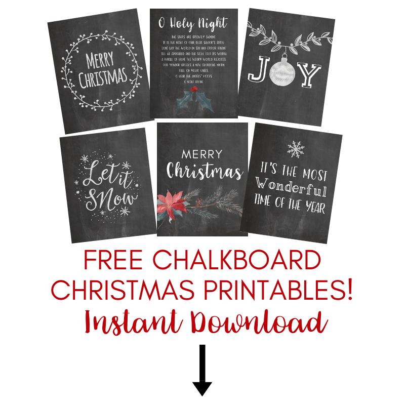 Free chalkboard christmas printables
