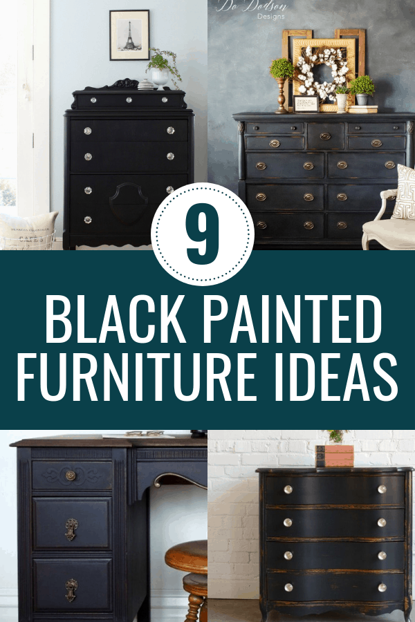 9 black painted furniture projects that will inspire your next DIY Furniture makeover. If you love a good before and after furniture project, check these 9 pieces out. #paintedfurniture #blackpaintedfurniture
