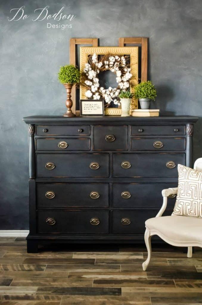 painted black dresser