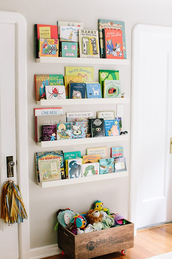 organized books in nursery