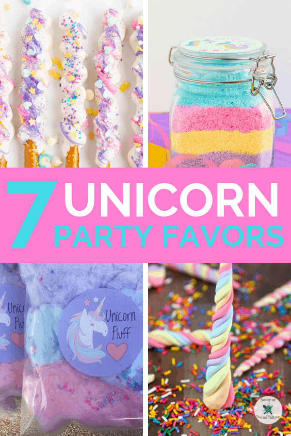 7 ideas for unicorn party favors for your unicorn birthday party. These unicorn goodie bag ideas are a mix of DIY unicorn projects, as well as ideas for options you can buy.