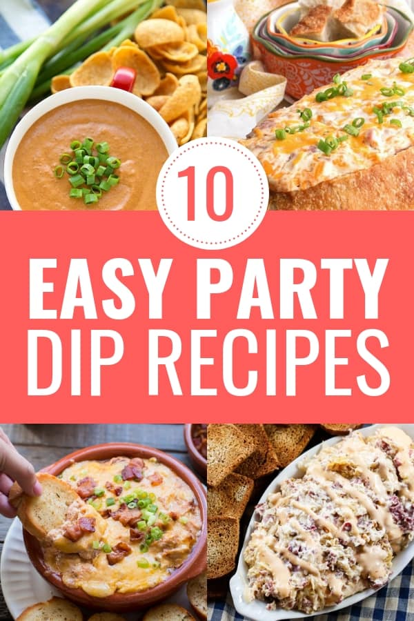 Are you looking for appetizer dip recipes for your next party? Check out this list of the BEST 10 easy party dip recipes. These dip recipes are perfect for holiday parties, game day parties and more. #diprecipes