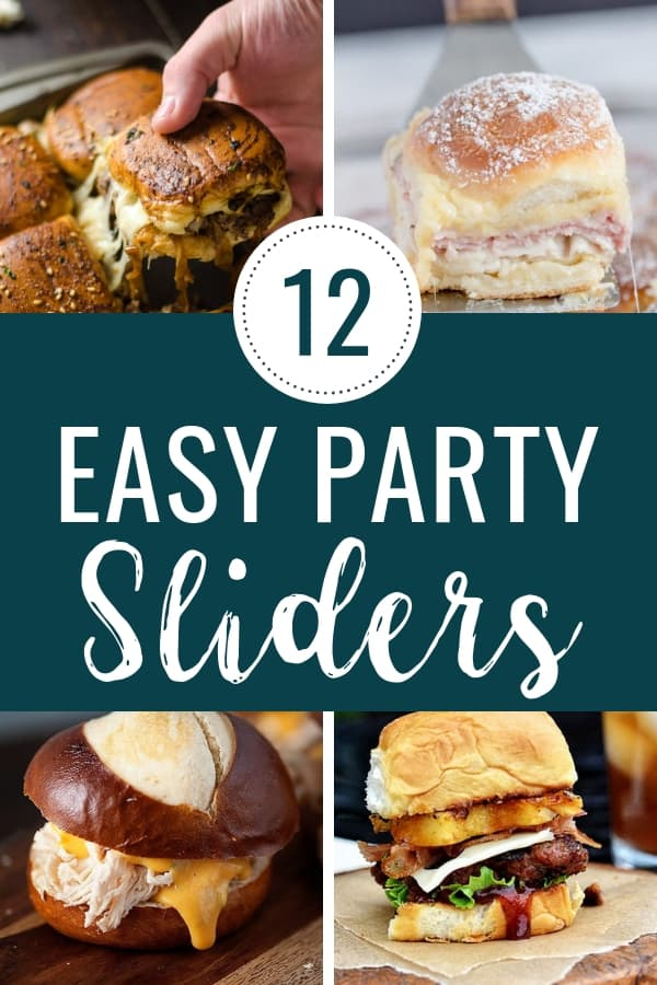 Party Sliders | 12 easy party slider recipes for a crowd! These appetizer sliders include cheeseburgers, monte cristo, ham and cheese, pizza and more. What's better than mini sandwiches for holiday parties and more? #sliders #sliderrecipes