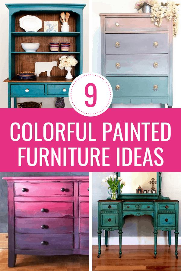 I love furniture makeovers! These 9 DIY furniture projects are bold and colorful. Check out these furniture before and afters for painted furniture ideas and inspiration. #paintedfurniture #furnituremakeover