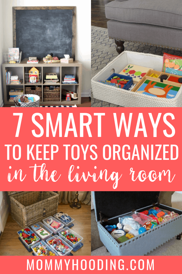 Is your living room filled with toys like mine? Learn to calm the clutter with these living room toy storage ideas! These clever living room toy organization hacks will help you hide toys in the living room when the kids aren't playing. a#toyorganization #livingroomtoystorage