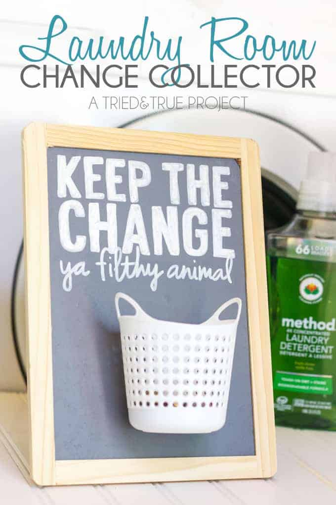 Laundry room organization change collector