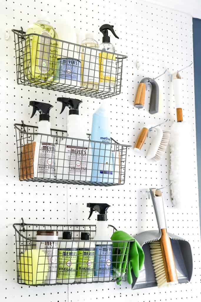 Laundry room organization peg board