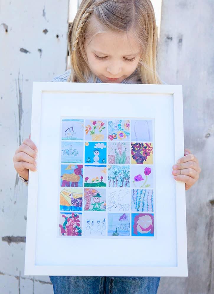 A creative way to display kids artwork!