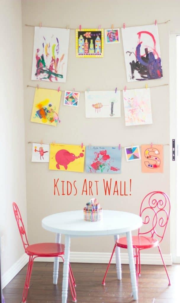 Kids artwork wall display