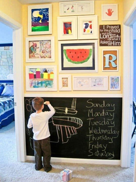 Kids' artwork gallery wall display