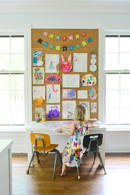 Kids artwork display cork board