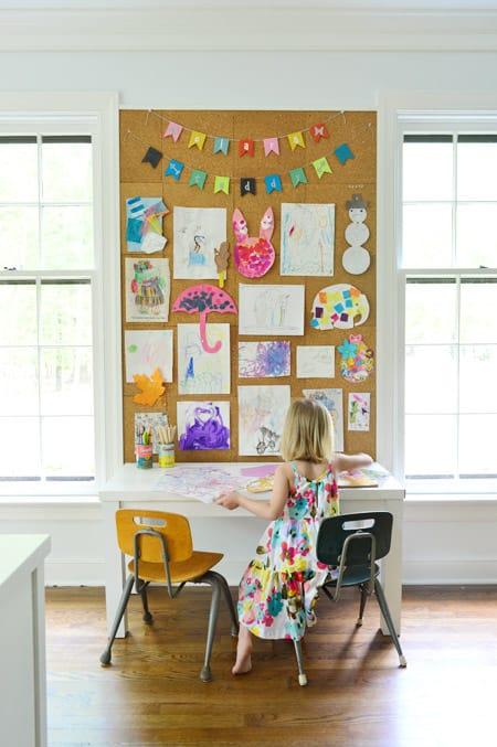 Kids artwork display cork board
