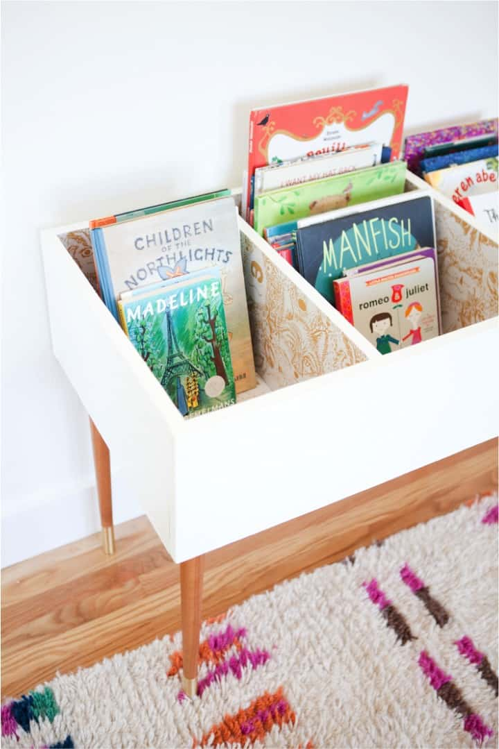 This DIY book bin is a great solution for kid book storage and organization!