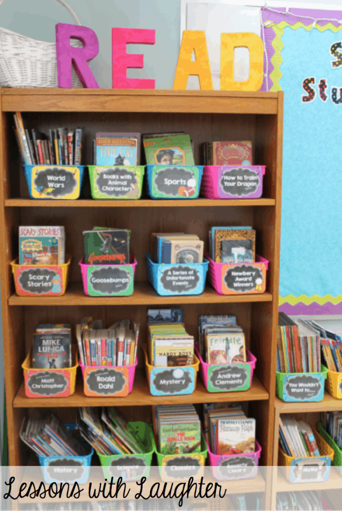 This is a great book storage solution! Separate by category in labeled bins!