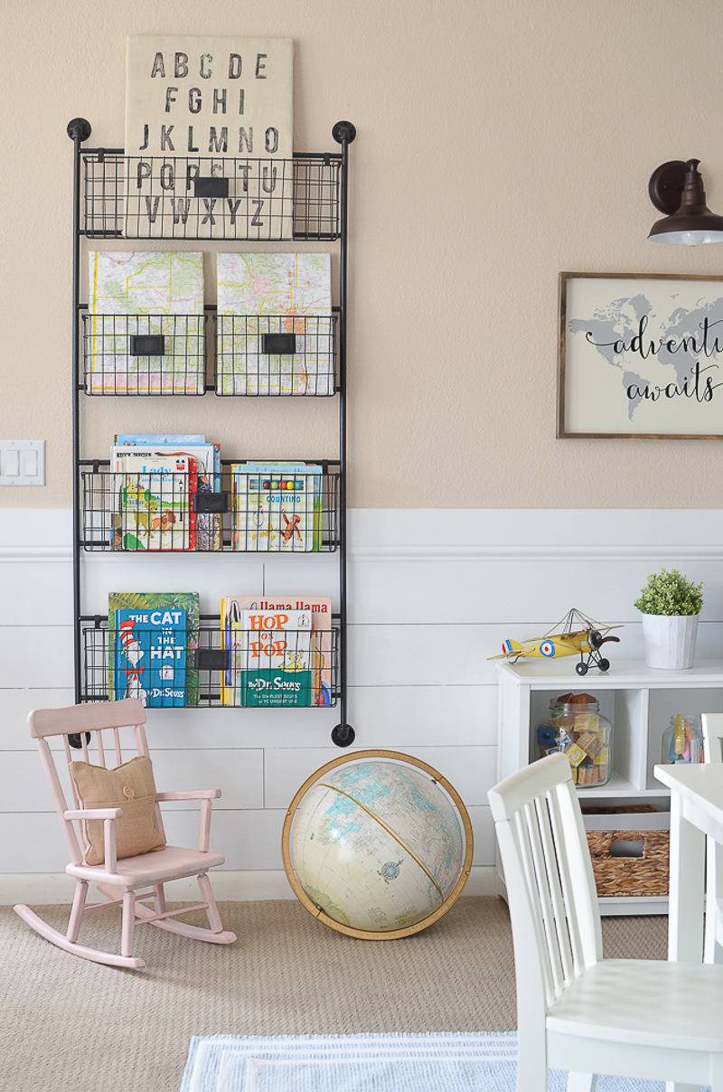 A farmhouse twist on wall book storage!