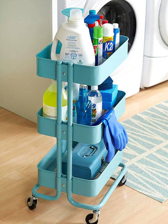Laundry room organization cart