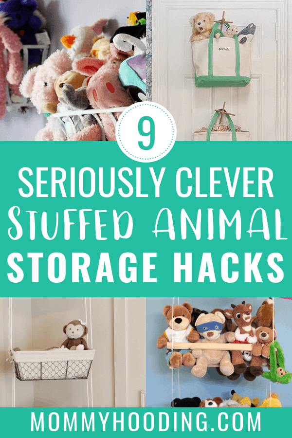 Are you drowning in your children's stuffed animals? Here are 9 stuffed animal storage ideas for you to consider! This list includes stuffed animal storage DIY projects for every type of space, including small spaces. Some stuffed animal solutions include bean bag chairs, hanging baskets and a stuffed animal zoo! #stuffedanimalstorage #stuffedanimalstorageideas #stuffedanimalstoragediy