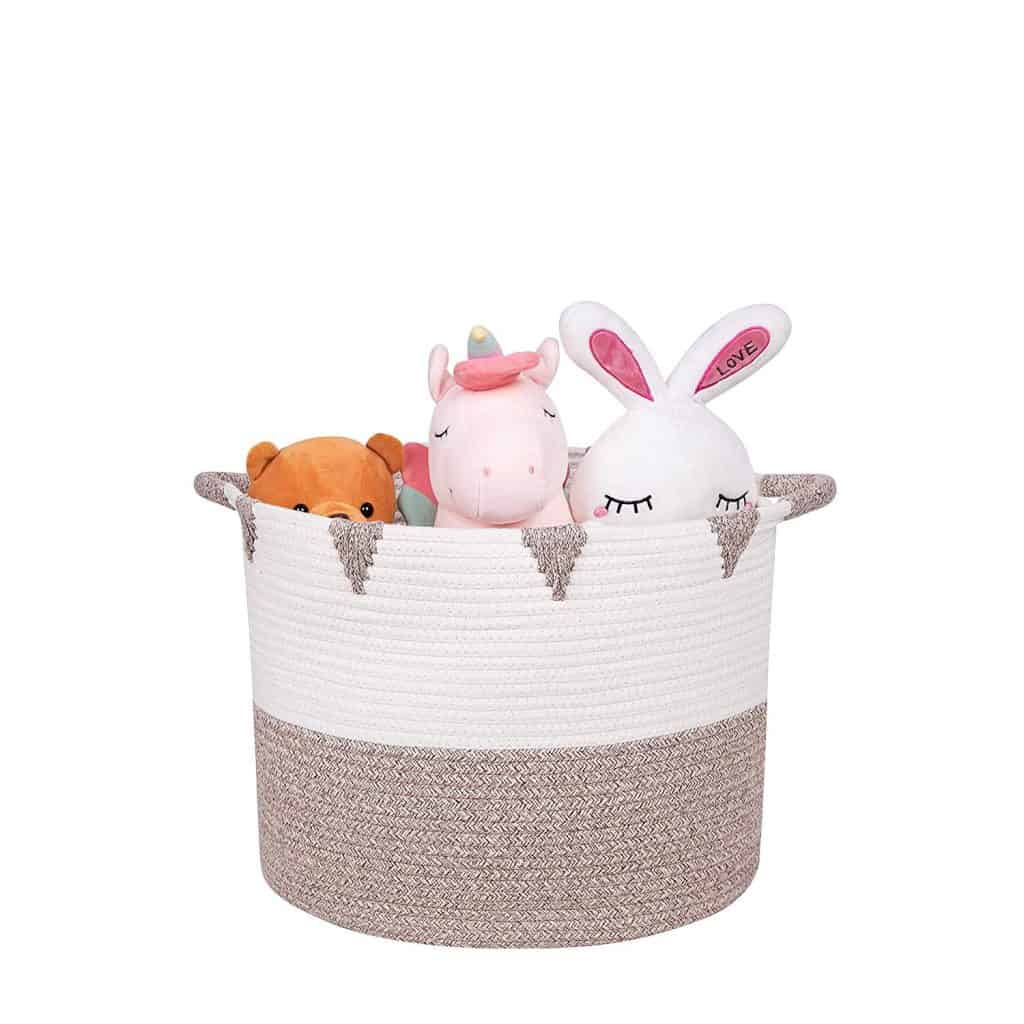 Decorative baskets can double as toy storage in the living room, playroom and nursery!