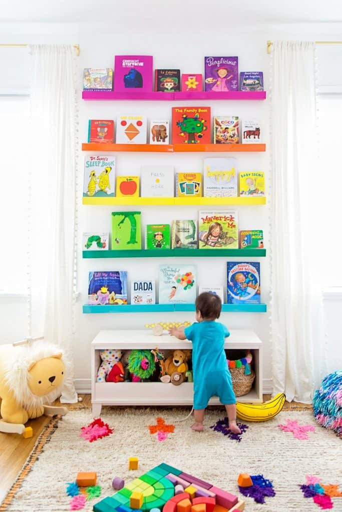 Kids book storage ideas | Colorful book display ideas for the nursery, baby room, kids room.