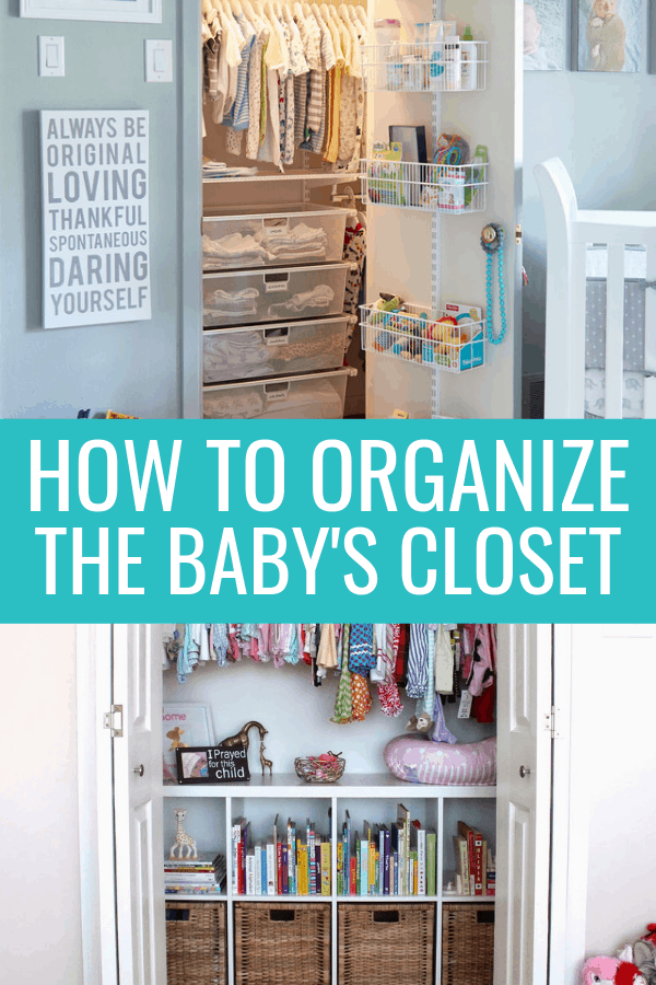 Baby closet organization ideas to help you prepare the nursery for baby! Learn tips on how to organize baby clothes, organize a small baby closet, use dividers in baby's closet, and maximize your nursery closet storage. #babyclosetorganizationideas #babycloset #nurserycloset #nursery
