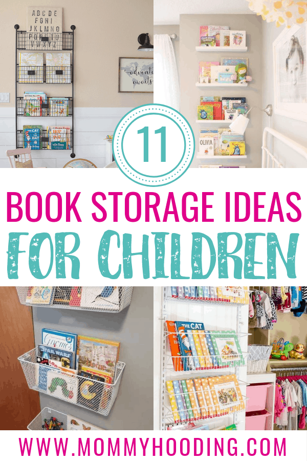 11 awesome kids book storage ideas. These book display ideas cover creative ways to store your kids books on walls, on shelves, in crates and more. These DIY book storage ideas will inspire your kids playroom, nursery, or bedroom! #kidsbooksstorage