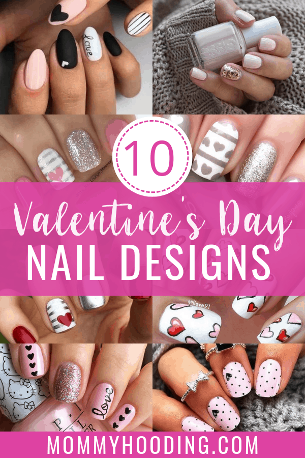 Valentine's Day is almost here and I'm rounding up my top ten favorite Valentine's nail inspiration! These valentine's day manicures include acrylic, gel and regular nail polish! #valentinesnails #valentinesdaynails