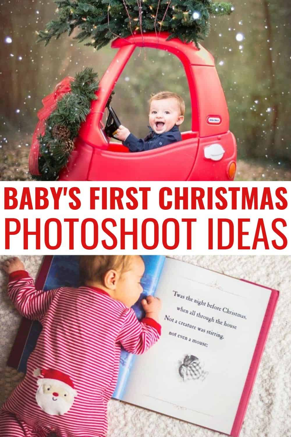 Baby's First Christmas Pictures that you can DIY! Baby's first Christmas for both girls and boy is such a special time for families! Capture all the great moments, whether in front of your Christmas trees, with siblings, or even the family dog. We cover baby photography tips AND 10 real life examples of Christmas baby photoshoot ideas. #babysfirstchristmas #christmasphotoshoot #christmas