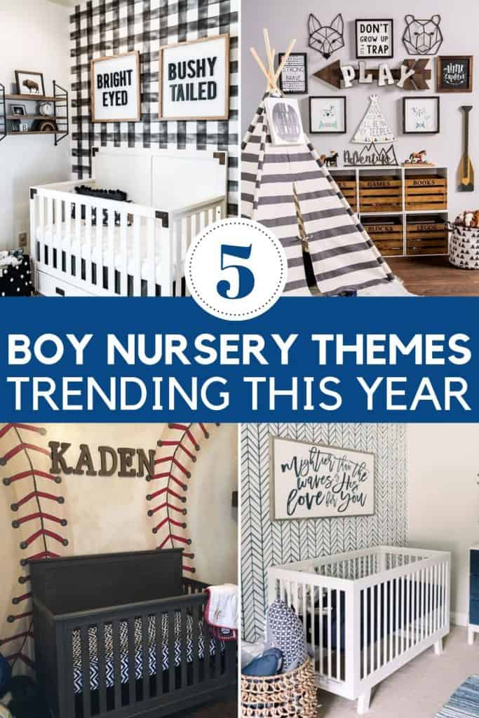 BOY NURSERY THEMES | 5 boy baby room themes that are trending this year. Boy nursery ideas and themes, including color schemes. Boy woodland nursery theme, boy space nursery theme, boy sport nursery theme, and the classic boy nautical nursery theme. #boynurserytheme