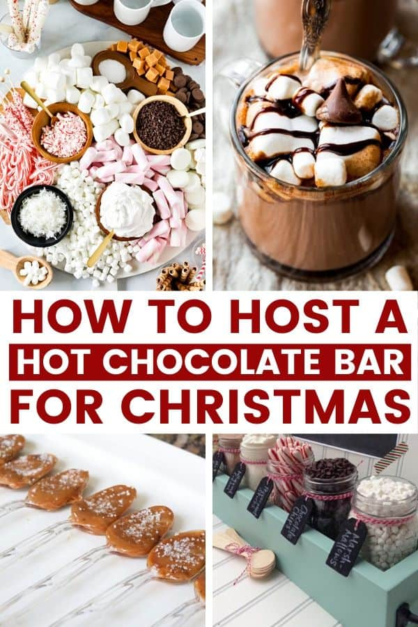 Hot Chocolate Bar for Christmas | Do you want to host a hot chocolate bar for Christmas? This is such a fun and simple way to celebrate the holidays with both kids and adults alike! Adding a hot chocolate bar with bring your Christmas party up a notch! We cover hot chocolate ideas like food, decor, toppings in mason jar, signs, and everything else. This is the perfect Christmas tradition for families! #christmas #hotchocolatebar