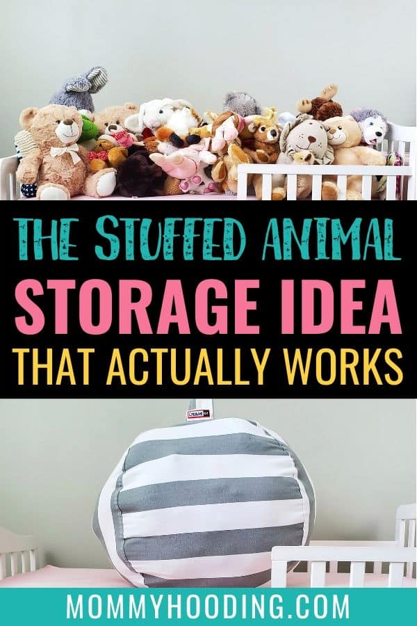 Stuffed animal storage idea | Are you trying to declutter stuffed animals? I've found the best stuffed animal organization idea. If you've tried using shelves, hanging baskets, bean bags or more, check out this genius stuffed animal storage idea that I use in our home.