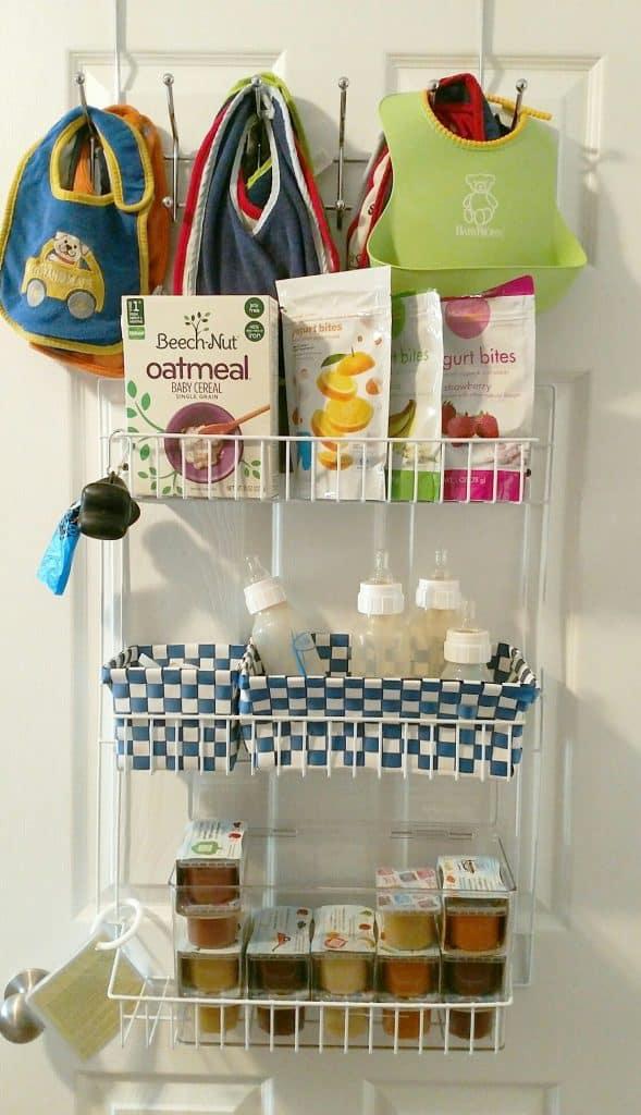 Over the door rack to store bottles and baby food