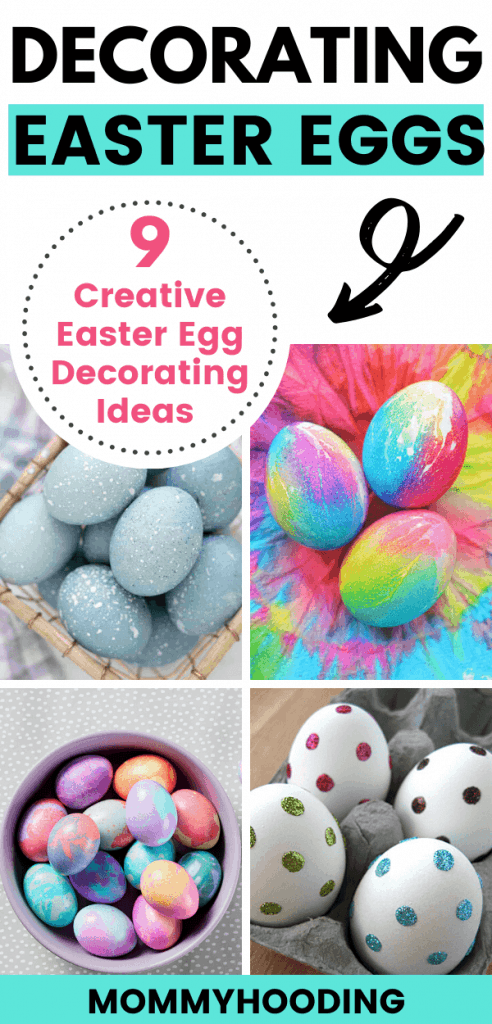 Decorating Easter eggs | 9 creative methods of decorating Easter eggs for kids, toddlers and even adults. We cover DIY easter egg decorating ideas using whipped cream, shaving cream, rice in a bag, natural dye to create shabby chic Easter decor, tie dye, marbled eggs and more. Dying easter eggs is so much fun and this list cover dying Easter eggs with food coloring, rice, cool whip and more! This is the perfect Easter craft for kids! #eastereggs